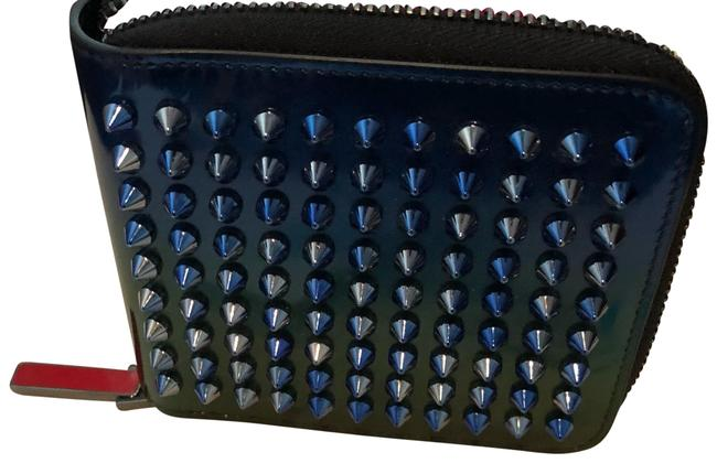 Item - Spike Zip Around Compact Wallet Blue Green Calf Patent Leather Wristlet