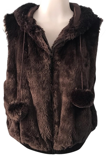 Item - Brown Hoodie with Pom Poms Vest Size 16 (XL, Plus 0x)