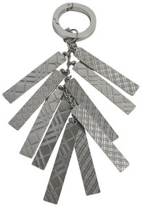 Burberry BURBERRY Nova Check Silver Embossed Tags Large Keychain Bag Charm