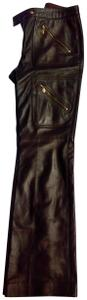 Escada Fully Lined Lambskin Detailed Hardware Very Good Condition Boot Cut Pants Coffee