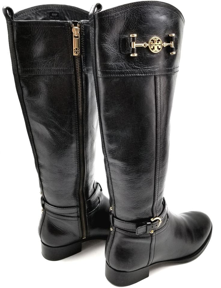 405ac7f47bdb Tory Burch Burnished Leather Medallion Logo Riding Made In Brazil Black  Boots Image 6. 1234567