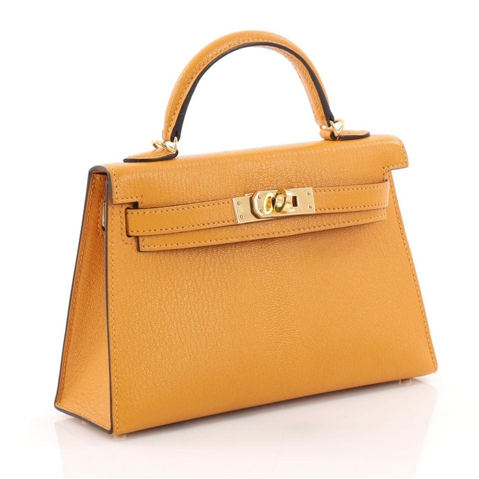 34c0d6bc43 Hermès Kelly Mini Ii Handbag Moutarde Chevre Mysore with Gold Hardware Yellow  Leather Tote - Tradesy