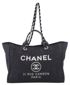 Chanel Deauville Tote in Navy Denim Blue