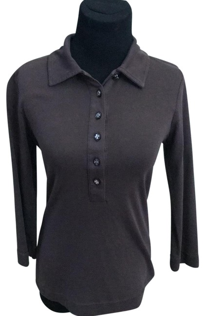 Item - Brown 3/4 Sleeve Polo Button-down Top Size 8 (M)