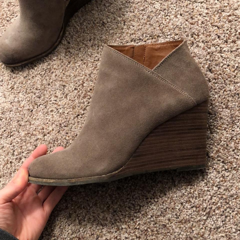 d5dd7f1c347f Lucky Brand Brindle Suede Yakeena Zip Wedge Boots Booties Size US 8 ...