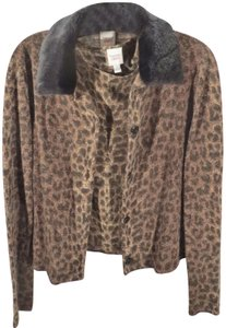 Liberté by Emanuel Twin Set Style Camisole Acrylic Wool Blend Faux Fur Animal Print Cardigan