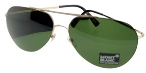 dba8f7ba04 Montblanc MB595S-28N-60 Aviator Men s Gold Frame Green Lens Genuine  Sunglasses