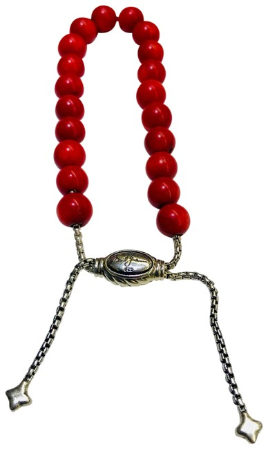 """David Yurman Coral Spiritual Beads 8mm with Pouch 5.8""""-9.8"""" Adjustable Never Worn Comes with Pouch Bracelet David Yurman Coral Spiritual Beads 8mm with Pouch 5.8""""-9.8"""" Adjustable Never Worn Comes with Pouch Bracelet Image 1"""