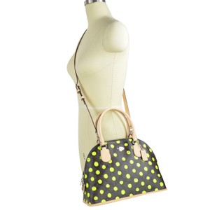Coach Dome 33260 Fashion Satchel in Brown Neon Yellow