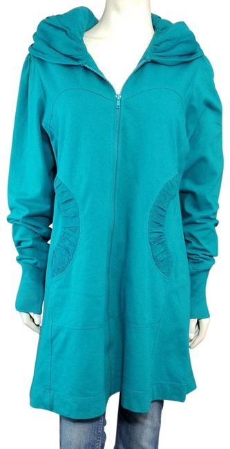 Item - Teal Green Boho Hooded Zip-up French Terry Stretch Coat Size 16 (XL, Plus 0x)
