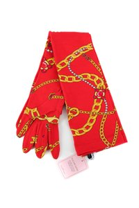 Balenciaga Balenciaga Red & Gold Print Gloves