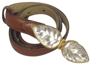 Lalique LALIQUE BELT BROWN LEATHER CRYSTAL LEAF BUCKLE SMALL RARE COLLECTIBLE