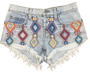 Carmar Embroidered Vintage Denim Colorful Lf Cut Off Shorts Blue