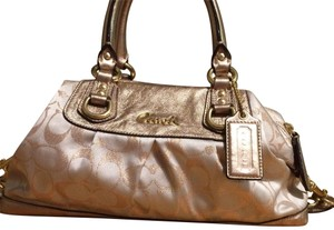 Coach Satchel in Tan & Gold with purple interior
