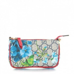 64a34ca6dce2c Gucci Gg Supreme Blue Blooms Mini Pochette Multicolor Coated Canvas ...