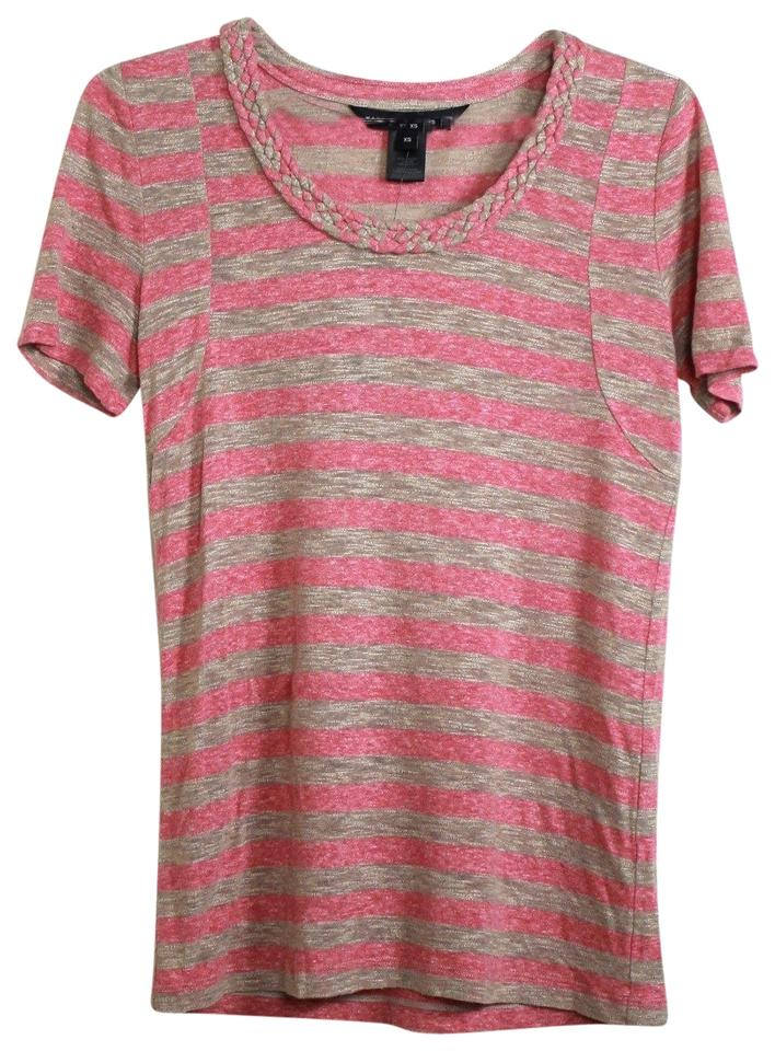2238b36c Marc by Marc Jacobs Pink Striped Braided Neckline Tee Shirt Size 2 ...