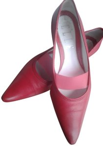 Elle Comfortable Leather Upper Leather Soles Pointed Toe Made In Italy Red Pumps