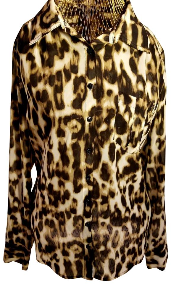b2cad59e997 Guess Brown & Ivory Leopard Print Long-sleeve Blouse. Size: 4 (S) ...