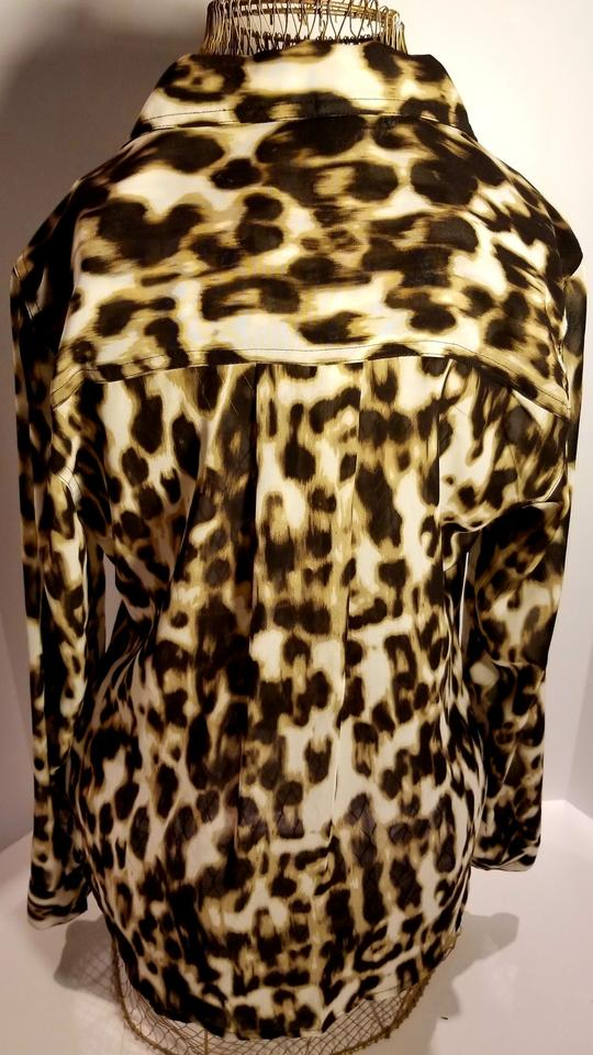 46cd0f4d7d8 Guess Brown & Ivory Leopard Print Long-sleeve Blouse Size 4 (S ...