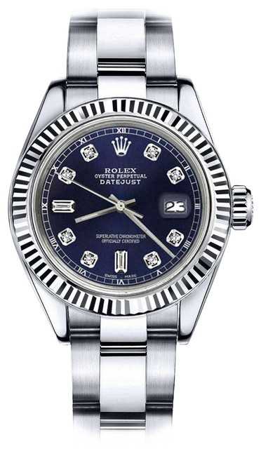 Rolex Ladies 26mm Datejust Navy Blue Color Dial with 8+2 Diamond Watch Rolex Ladies 26mm Datejust Navy Blue Color Dial with 8+2 Diamond Watch Image 1
