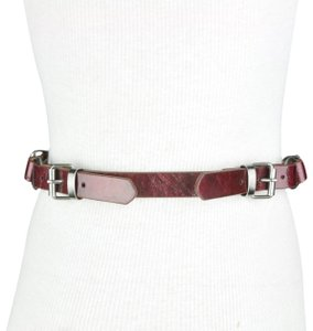 To the Max To the Max Red Faux Leather Triple Buckle Belt