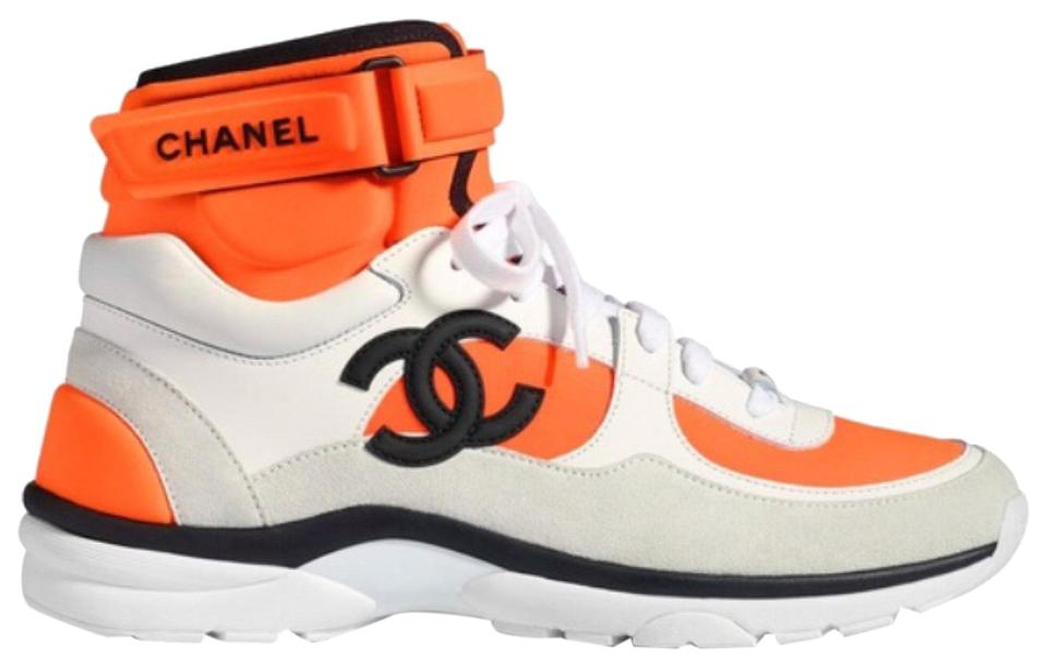 924e25d3 Chanel Orange White Black Neoprene High Top Trainers Sneakers Size EU 41  (Approx. US 11) Regular (M, B)