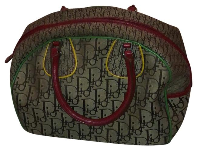 Item - Bowler Rastafarian-inspired Tri Color Accents Brown Tan Green & Yellow Canvas Satchel