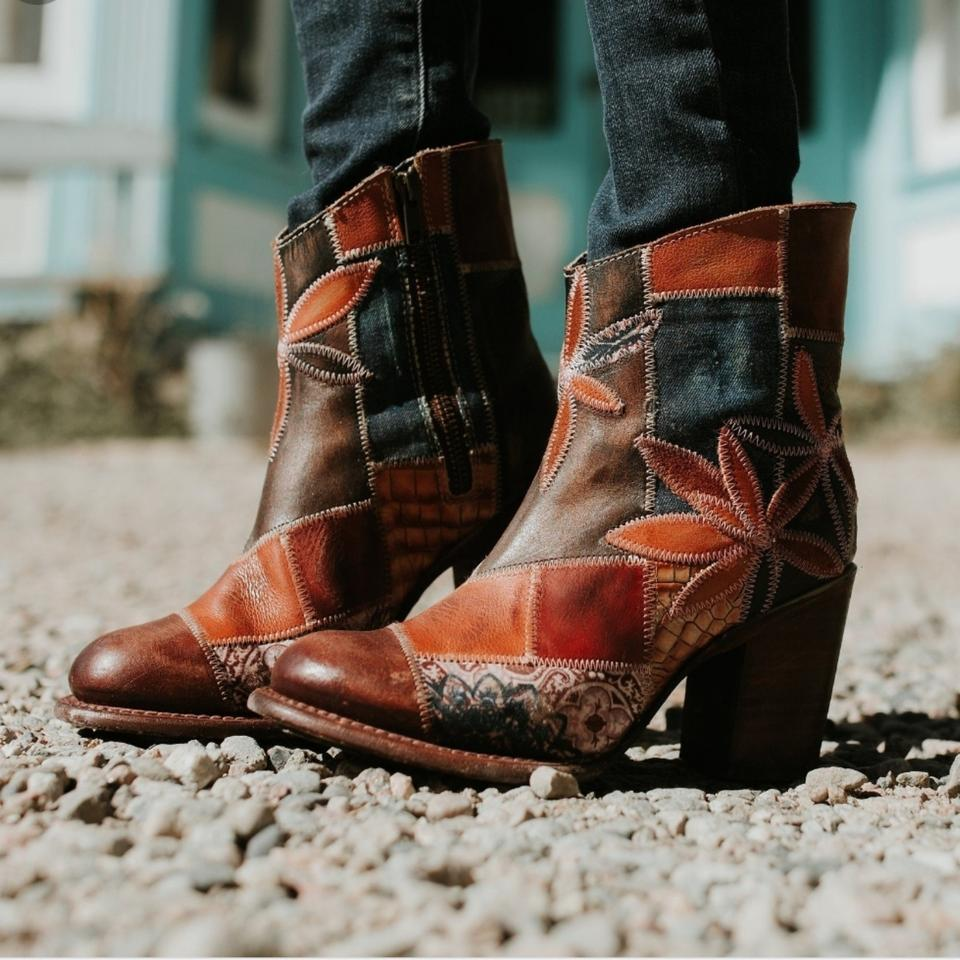 8575adcfef7 FreeBird Tan Rust Navy Distressed Leather   Canvas Patchwork Petal Boots  Booties