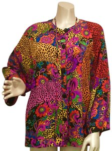 Diane Freis Ltd. Vintage 1980s Silk Jacquard Top Multi