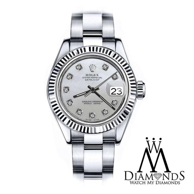 Rolex Ladies 26mm Datejust White Mop Mother Of Pearl Dial with Diamond Watch Rolex Ladies 26mm Datejust White Mop Mother Of Pearl Dial with Diamond Watch Image 1