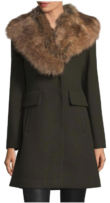 Item - Green Faux-fur Collar In Olive Coat Size 4 (S)