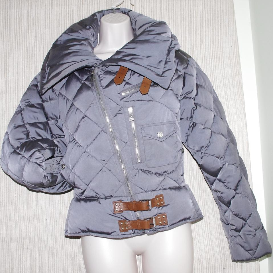 cfbe92f3e Ralph Lauren Black Label Gray Quilted Goose Down Parka Puffer Leather Trim  Women's Jacket Coat Size 8 (M) 77% off retail
