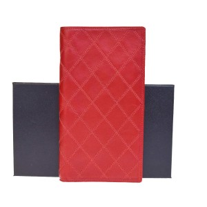 Chanel Red Quilted Lambskin Leather Wallet