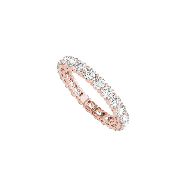 Unbranded Pink Cubic Zirconia Full Eternity In 14k Rose Gold Ring Unbranded Pink Cubic Zirconia Full Eternity In 14k Rose Gold Ring Image 1
