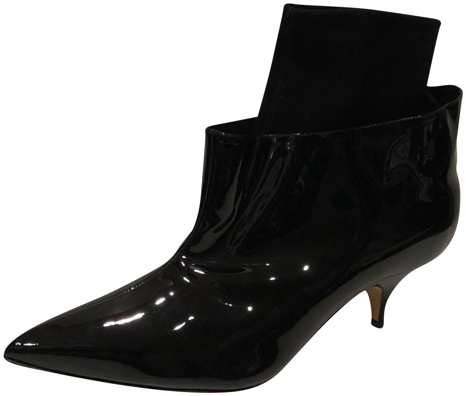 97ef1b5903437 Manolo Blahnik Black New Pointy Toe Kitten Heel Patent Leather Ankle Boots /Booties