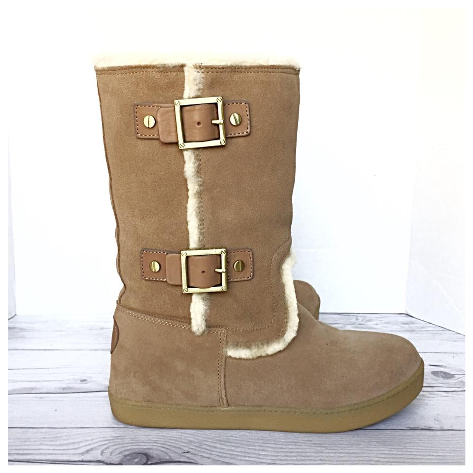 c472856ad Tory Burch Sand Tan Shearling Buckle Fur Lined Suede Mid Calf Boots ...