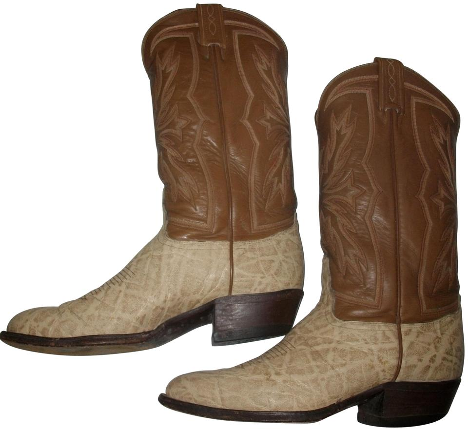 57229554d37 Tony Lama Brown and Beige Vintage Two-tone Western/Cowboy Boots/Booties  Size US 9 Regular (M, B)
