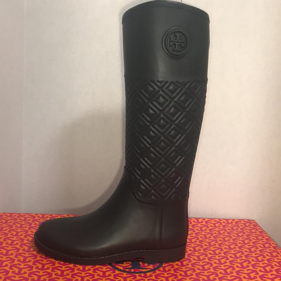 4bdc7989b0ab46 Tory Burch Black Marion Quilted Rianboot Rubber Leather Boots Booties Size  US 9 Regular (M