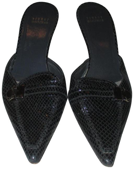 Item - Black Embossed Snake Leather Mules/Slides Size US 8 Regular (M, B)