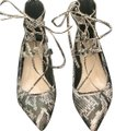 Faux Snake Skin Strappy Flat Sandals