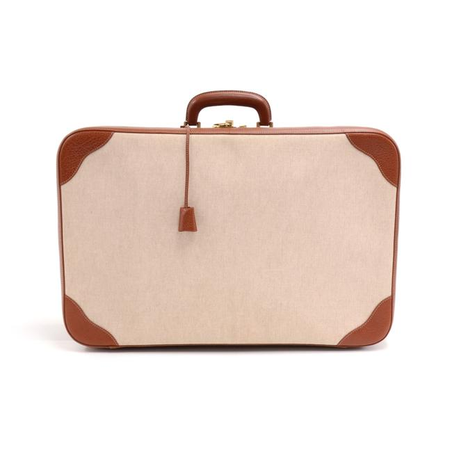 Hermès Vintage Canvas & Brown Suitcase Beige Leather Weekend/Travel Bag Hermès Vintage Canvas & Brown Suitcase Beige Leather Weekend/Travel Bag Image 1