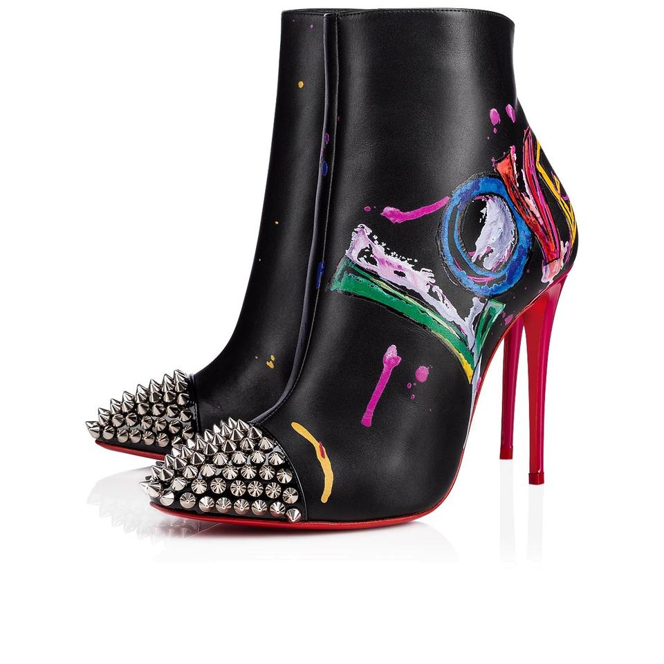 Christian Louboutin Black Love Is A 100 Silver Spike Red Stiletto Heel Ankle Boots Booties Size Eu 36 Approx Us 6 Regular M B