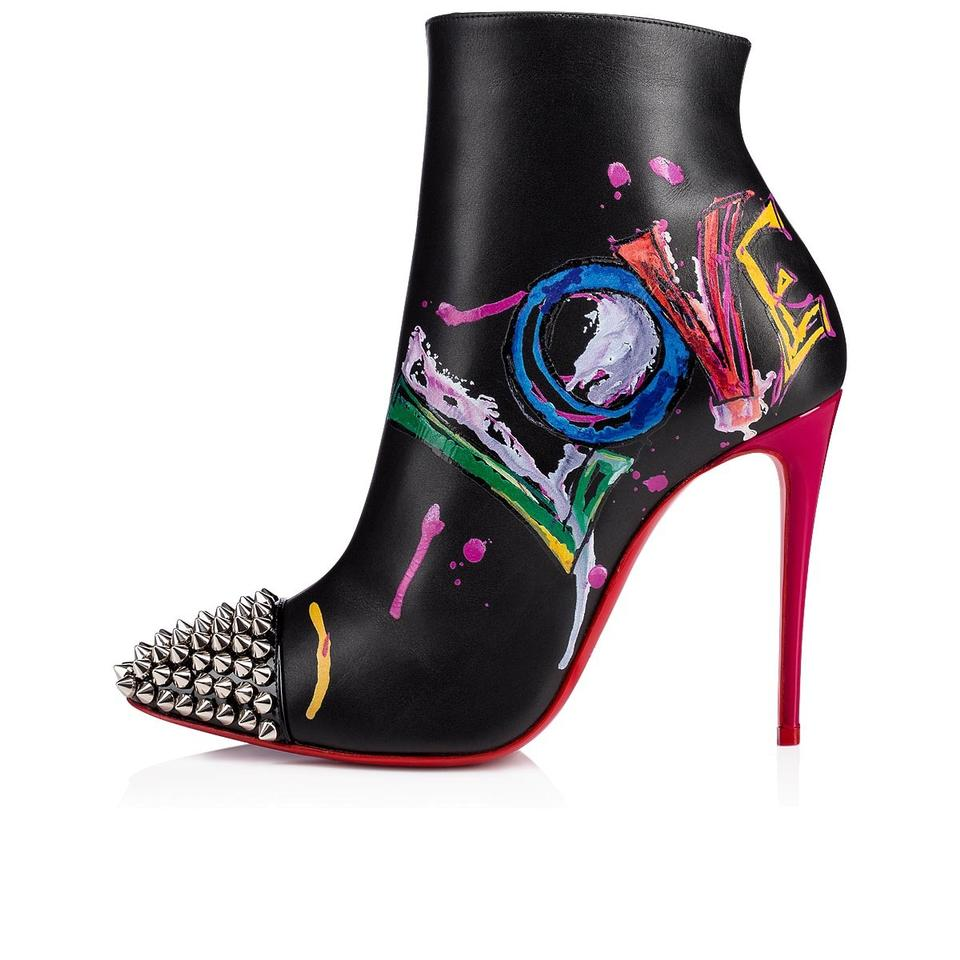 ead9bfba4b6 Christian Louboutin Black Love Is A 100 Silver Spike Red Stiletto Heel  Ankle Boots/Booties Size EU 36 (Approx. US 6) Regular (M, B)