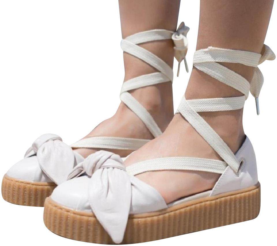 a5a592c3604 Puma Cream Fenty By Rihanna Women s Oatmeal Creeper Sandals Size US ...