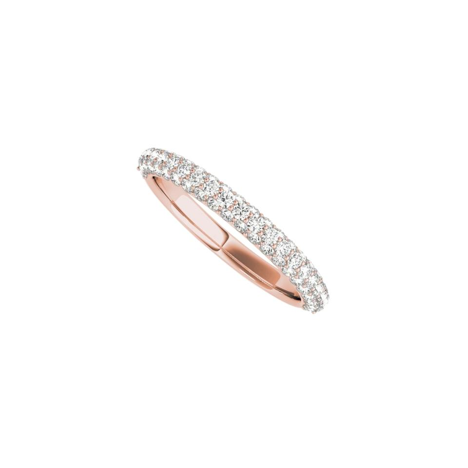 Simple Wedding Ring.Pink Round Cz Simple Wedding Band For Women In 14k Rose Gold Ring 71 Off Retail