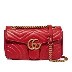 1324f63e210d Gucci Marmont New Gg Medium Quilted Red Leather Shoulder Bag - Tradesy