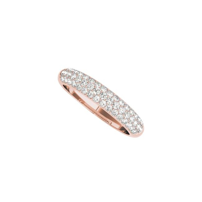 Unbranded Pink Three Rows Cz Wedding Band For Women In 14k Rose Gold Ring Unbranded Pink Three Rows Cz Wedding Band For Women In 14k Rose Gold Ring Image 1