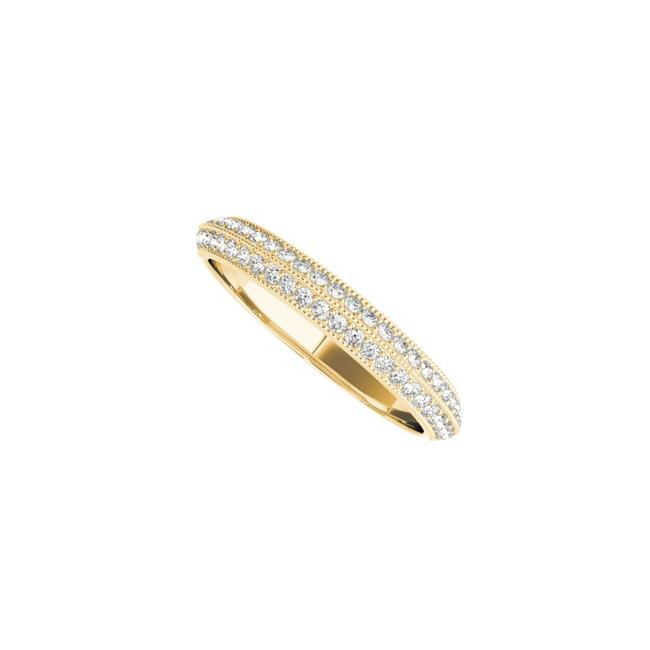 Unbranded Yellow Two Rows Cz Wedding Band For Women In 14k Gold Ring Unbranded Yellow Two Rows Cz Wedding Band For Women In 14k Gold Ring Image 1
