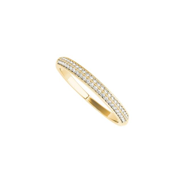 Unbranded Yellow Milgrain Edge Cz Wedding Band For Women 14k Gold Ring Unbranded Yellow Milgrain Edge Cz Wedding Band For Women 14k Gold Ring Image 1