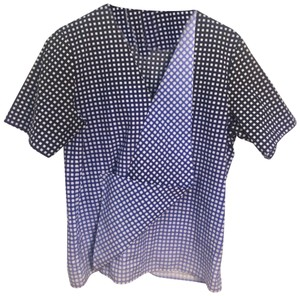 COS Checkered Draped Casual Chic Ruffle Top Blue